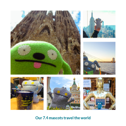 The 7.4 company mascots travel the world